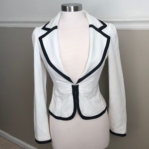 Arden B- cream blazer with black ribbon piping